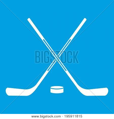 Ice hockey sticks icon white isolated on blue background vector illustration