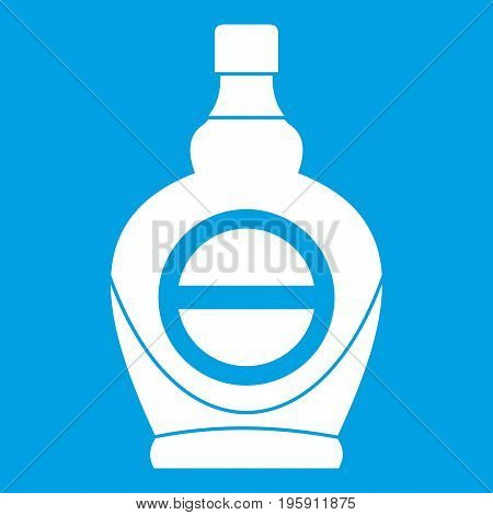 Maple syrup in glass bottle icon white isolated on blue background vector illustration