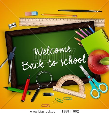 Vector illustration of Welcome back to school with school supplies