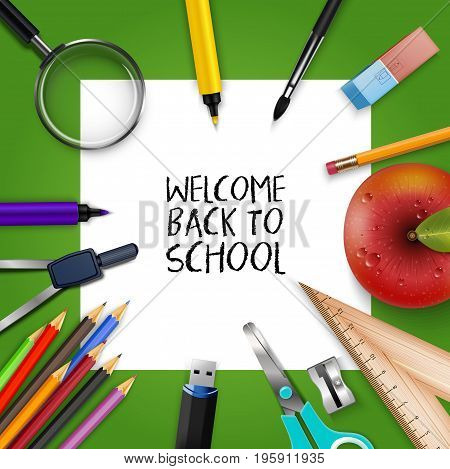 Vector illustration of Welcome Back to school template with schools supplies