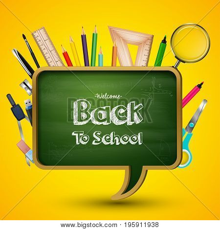 Vector illustration of Welcome back to school with blackboard and school supplies