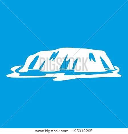 Cliff icon white isolated on blue background vector illustration