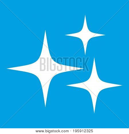 Stars icon white isolated on blue background vector illustration