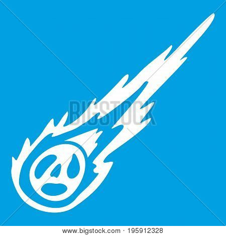 Meteorite icon white isolated on blue background vector illustration