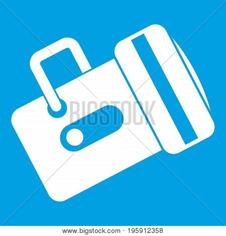 Flashlight icon white isolated on blue background vector illustration