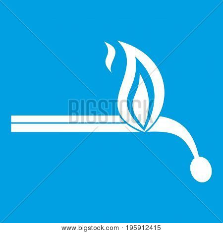 Burning match icon white isolated on blue background vector illustration
