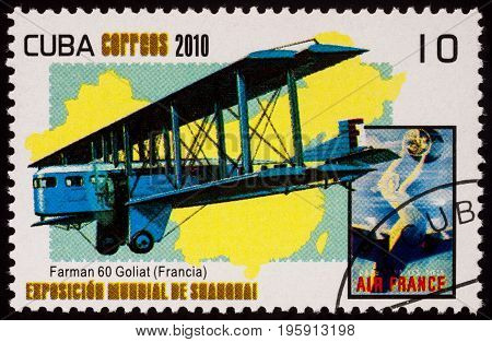 Moscow Russia - July 18 2017: A stamp printed in Cuba shows old French airliner and heavy bomber Farman F.60 Goliath (designed in 1918) series