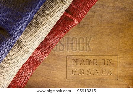 Made in France - poster with the national flag of France.