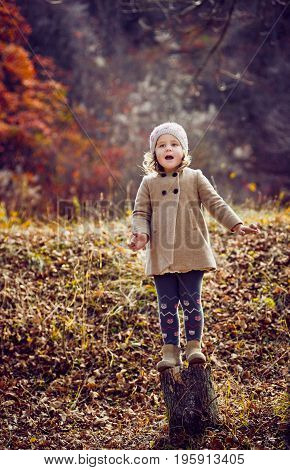 Happy little baby girl playing in autumn park