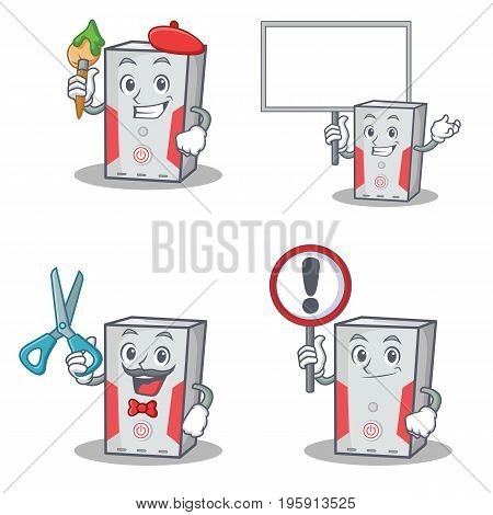 Set of computer character with artist barber bring board sign vector art