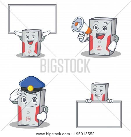Set of computer character with board police megaphone vector illustration