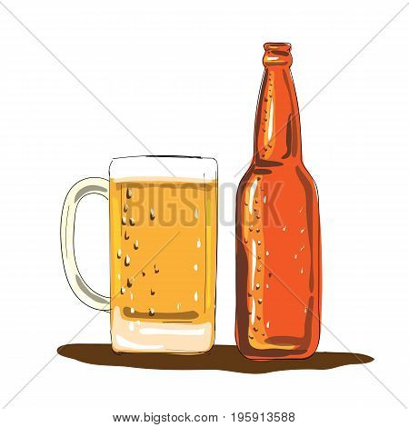 Illustration of a Craft Beer Bottle and Mug done in Watercolor style.