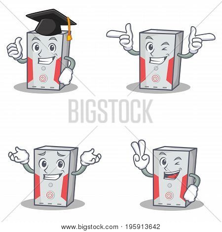 Set of computer character with graduation wink two finger vector art