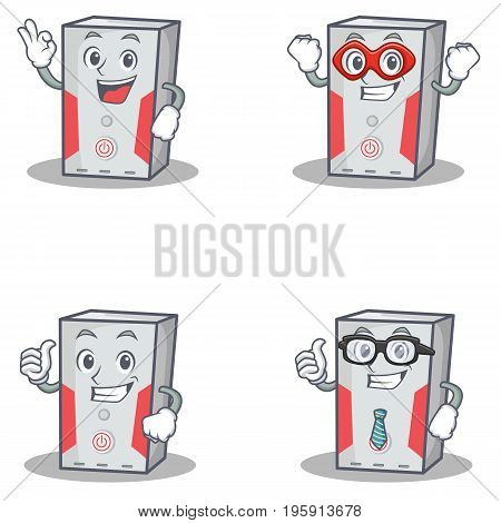 Set of computer character with okay hero proud businessman vector illustration