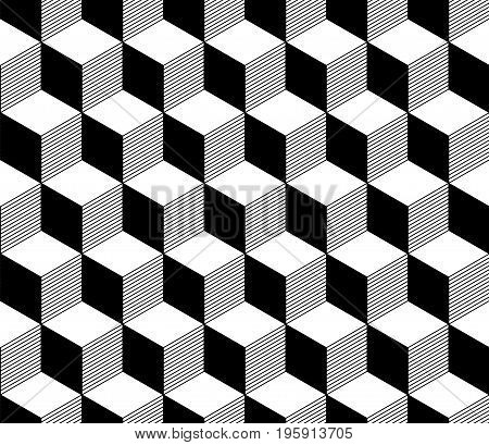 Abstract 3d striped cubes geometric seamless pattern in black and white, vector background