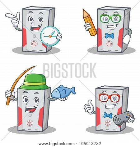 Set of computer character with clock student fishing gamer vector illustration
