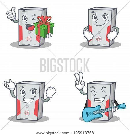 Set of computer character with gift smirking successful guitar vector illustration