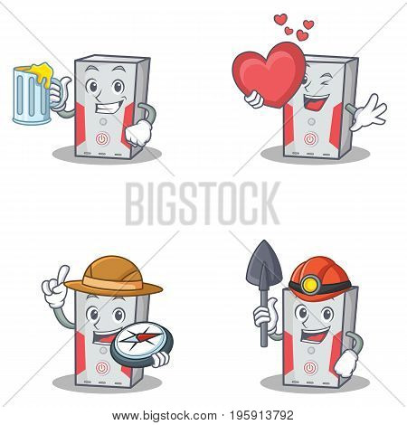Set of computer character with juice love explorer winer vector illustration