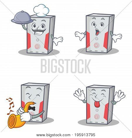 Set of computer character with chef surprised trumpet tongue out vector illustration