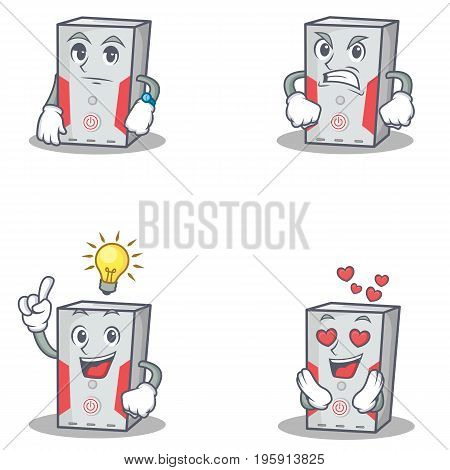 Set of computer character with waiting angry idea love vector illustration