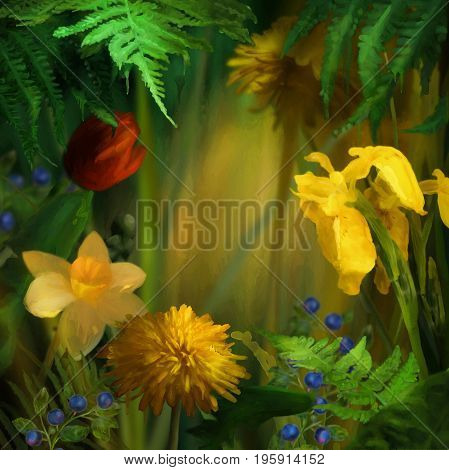 Watercolor summer background. Flowers with paint drips. Floral digital painting. Daffodils Dandelions yellow Iris under the fern leaves