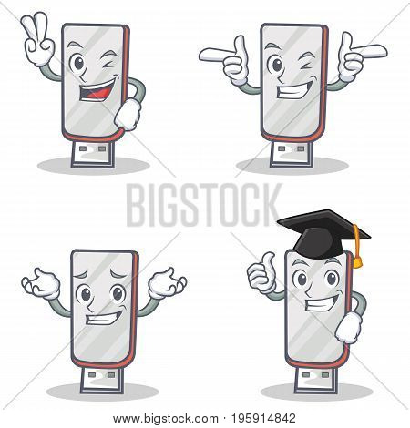Set of flashdisk character with two finger wink graduation vector illustration