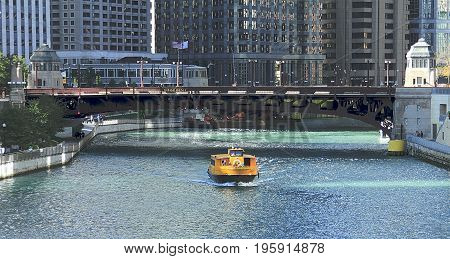 CHICAGO, ILLINOIS - NOVEMBER 15, 2011: View of Wabash Avenue Bridge in Downtown from Chicago river