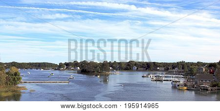 Natural riverside scenery including a small harbor near Portland, Maine