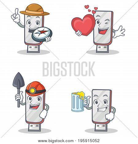 Set of flashdisk character with explorer heart winer juice vector illustration
