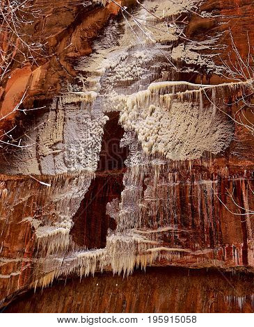 Beautiful ice formation on a sandstone and trees in Zion National Park, Utah