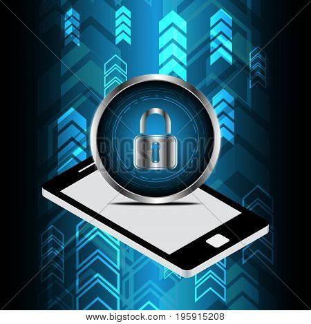 Technology Digital Cyber Security Lock Circle Mobile Phone Background