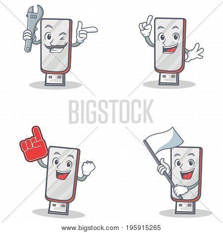 Set of flashdisk character with mechanic foam finger flag vector illustration