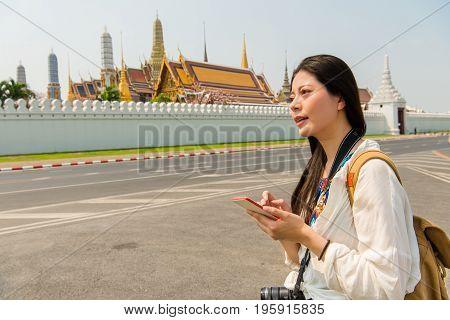 Happy Asian Girl In Summer Walking In Bangkok