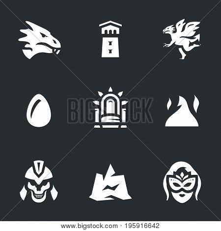 Dragon, tower, monster, egg, throne, fire, skeleton, mountain, queen.