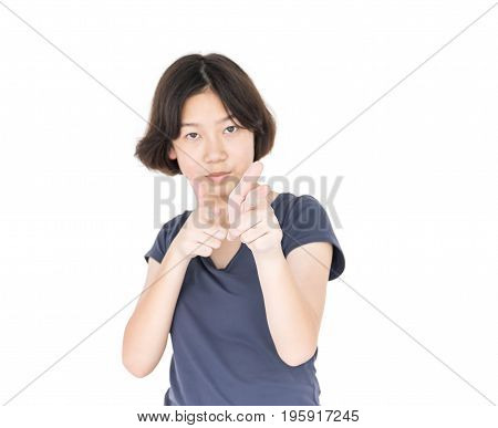 Young Female Short Hair With Blank Gray T-shirt