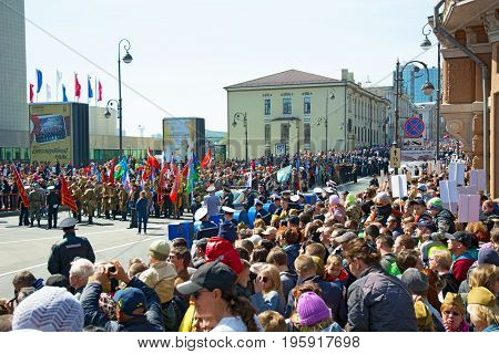 Parade on the square holiday year May 9, 2017. Russia, Vladivostok. on a sunny day