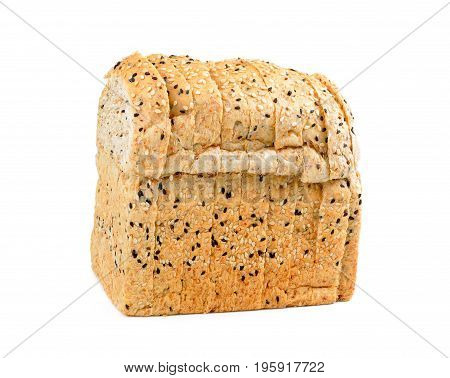 Wholemeal bread with seeds isolated on white