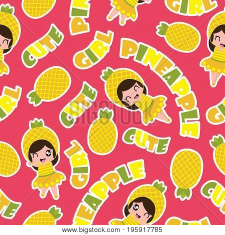 Summer seamless pattern with cute pineapple girls on pink background vector cartoon for summer wallpaper and scrap paper
