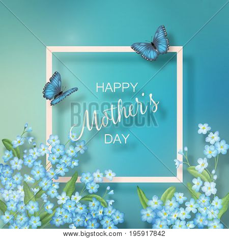 Mothers Day greeting card with a frame blooming flowers and butterflies