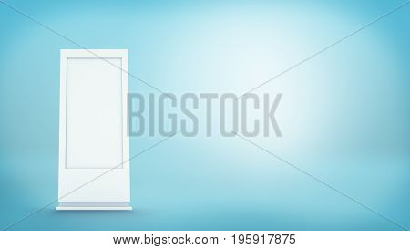 3d rendering of white empty street billboard on blue background. Street advertizing. Billboards and street furniture. Business and advertizing.