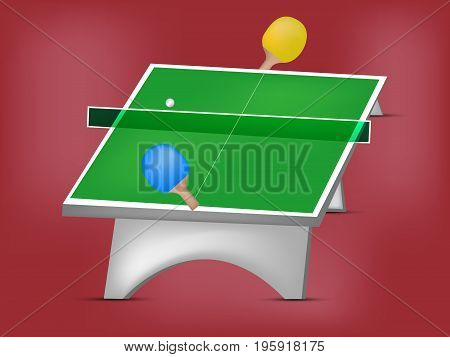 illustration of table rackets and ball on the event of Table Tennis Tournament