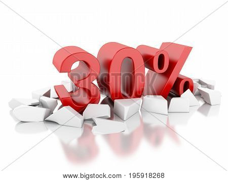 3D 30% Icon On Cracked Surface