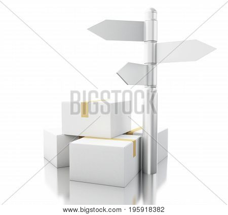 3D Carboard Boxes With Sign Post. Delivery Concept.
