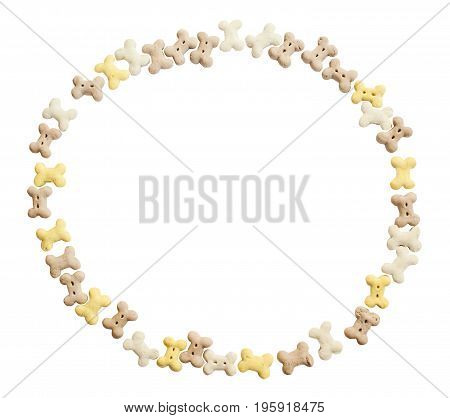 Circle Frame Of Dog Cookies. Isolated On A White Background. Clipping Path.