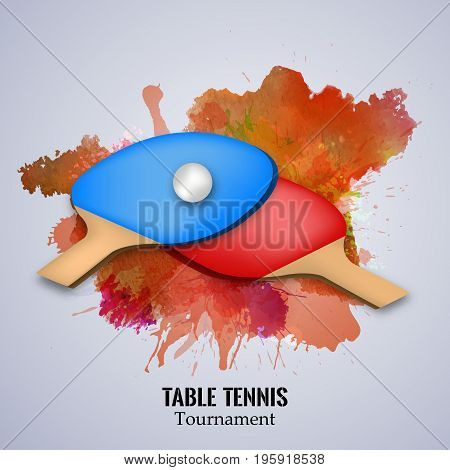 illustration of table Tennis rackets with Table Tennis Tournament text