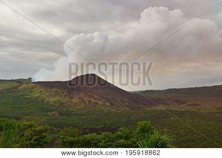 Panoramic view on masaya volcano in Nicaragua. Active volcano background