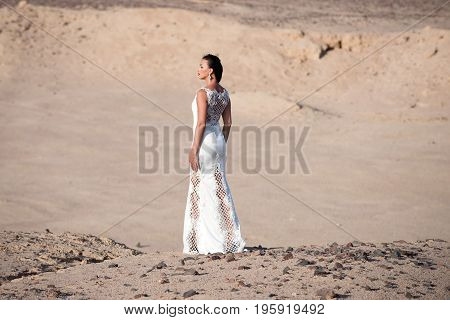 Bride Young Pretty Woman Brunette Posing Back On Desert Background