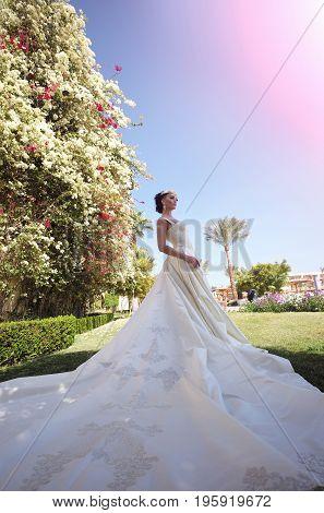 Pretty Girl Or Bride Wearing Long White Dress
