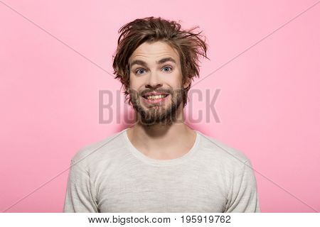 Happy Man With Long Stylish Uncombed Hair, Morning And Barbershop