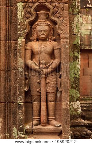Old chiseled of the Wat Phu Champasak temple in Laos